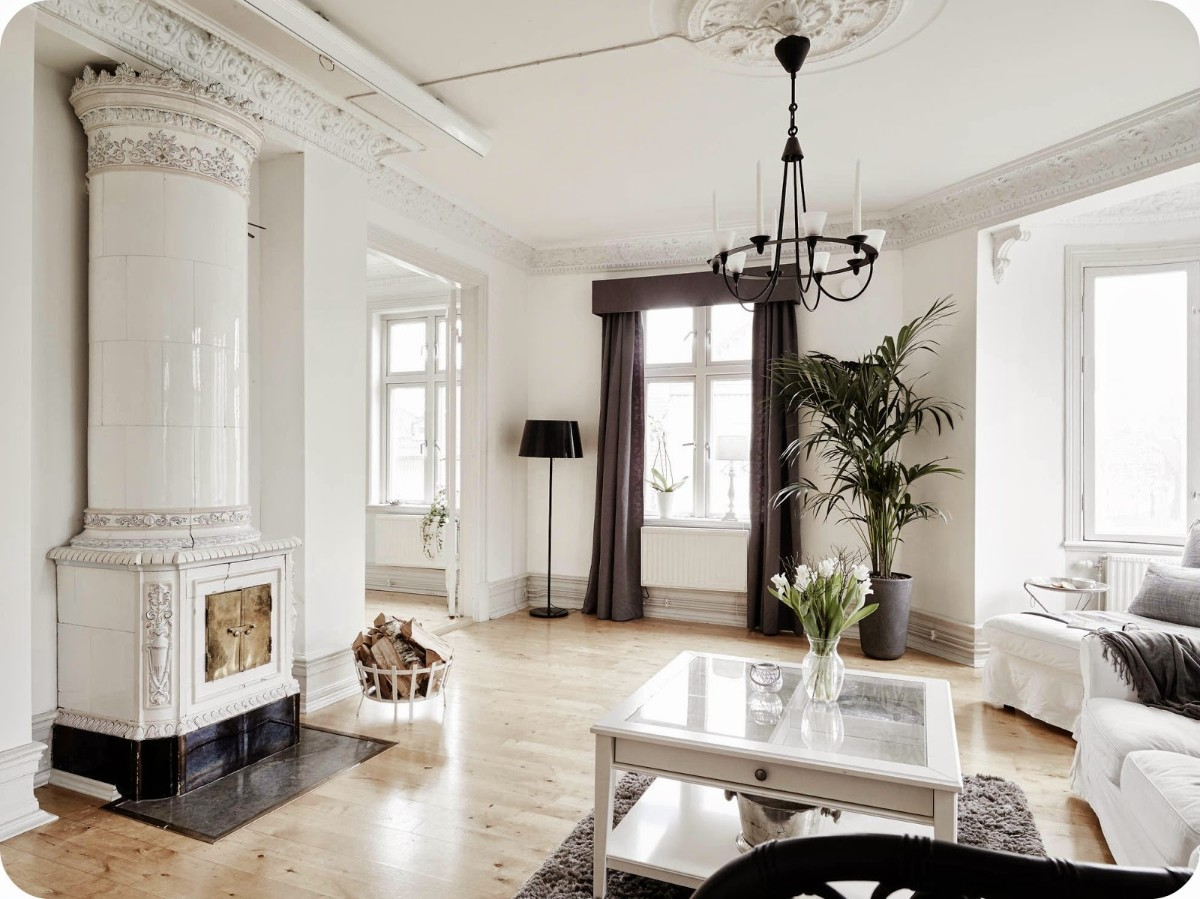 дом в скандинавском стиле дизайн комнаты с эркером