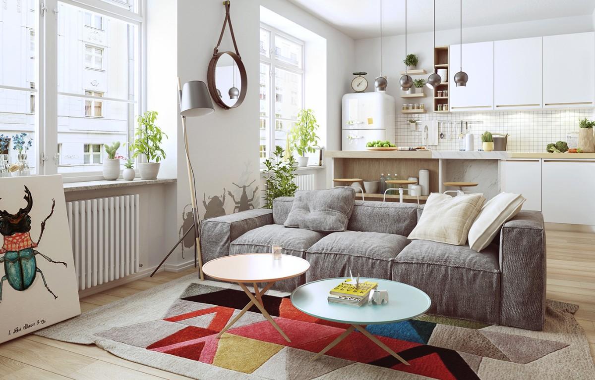 дом в скандинавском стиле дизайн студии с ярким ковром