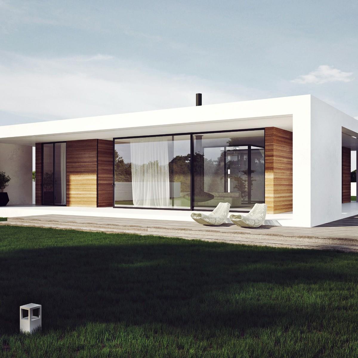 дом в скандинавском стиле фасад белого цвета