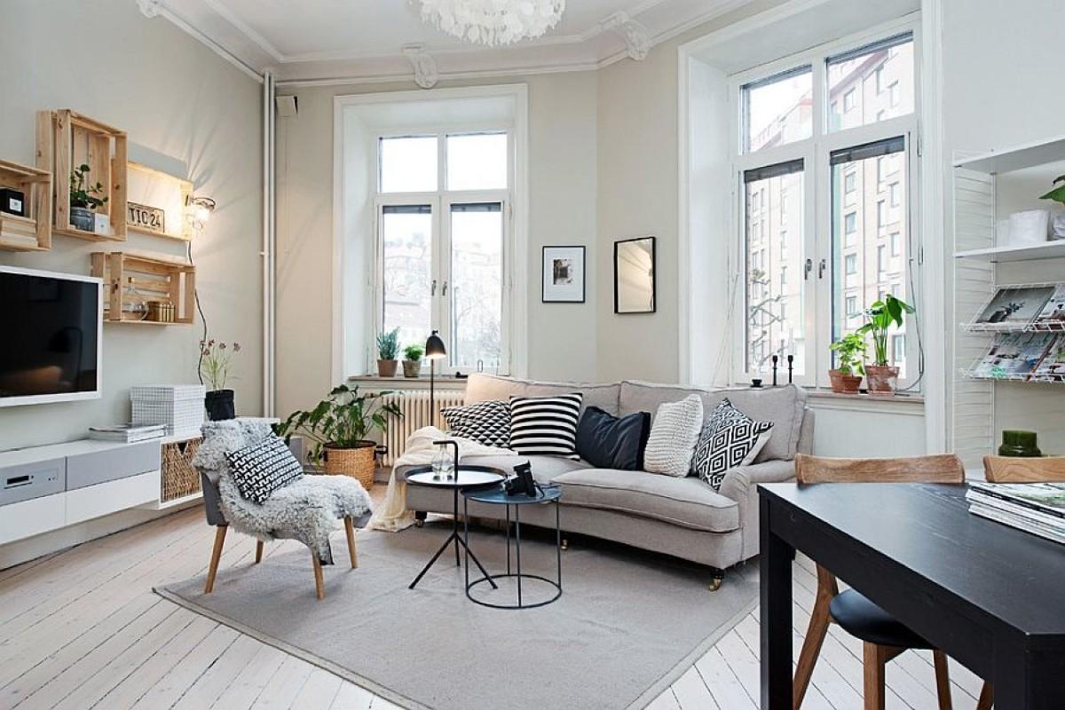 дом в скандинавском стиле интерьер гостиной с панорамными окнами