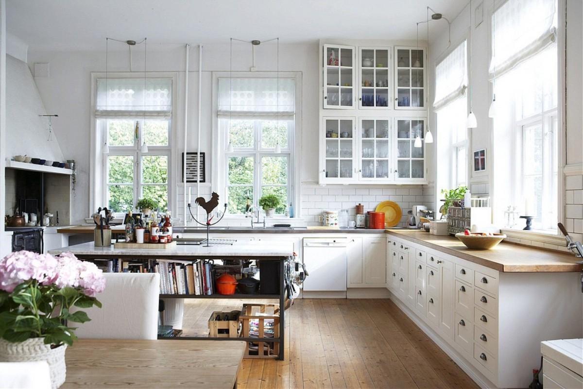 дом в скандинавском стиле интерьер кухни с островом