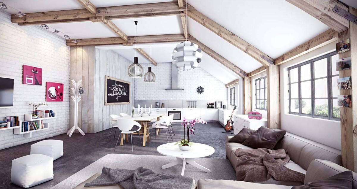 дом в скандинавском стиле интерьер мансарды