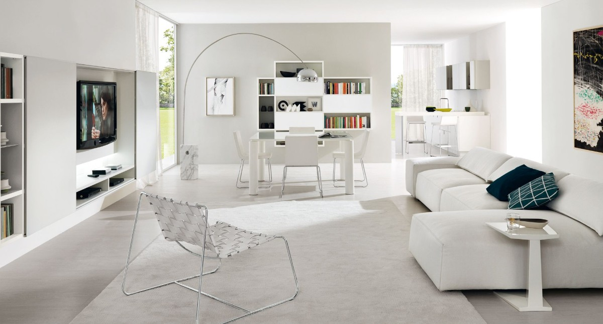 дом в скандинавском стиле интерьер в белом цвете