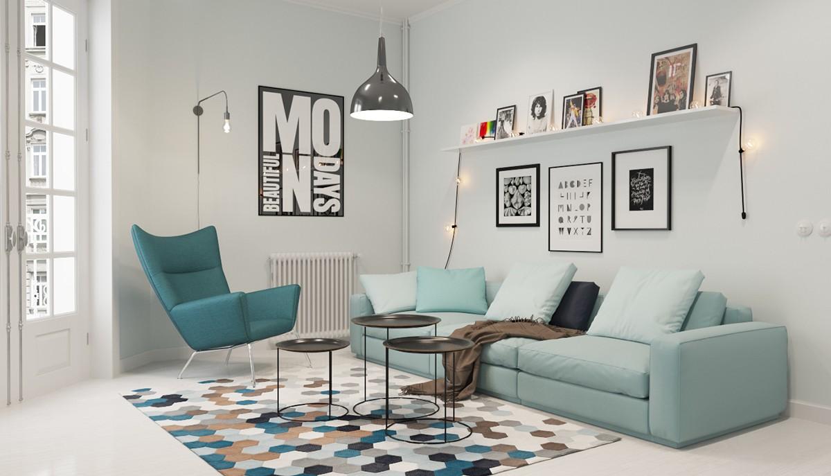 дом в скандинавском стиле светлый дизайн с бирюзовыми акцентами