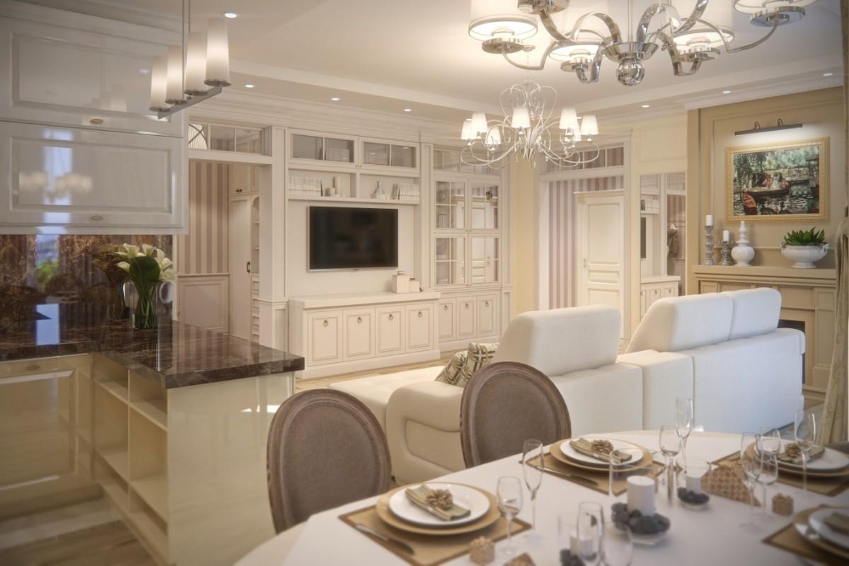 элегантная кухня гостиная столовая в классическом стиле
