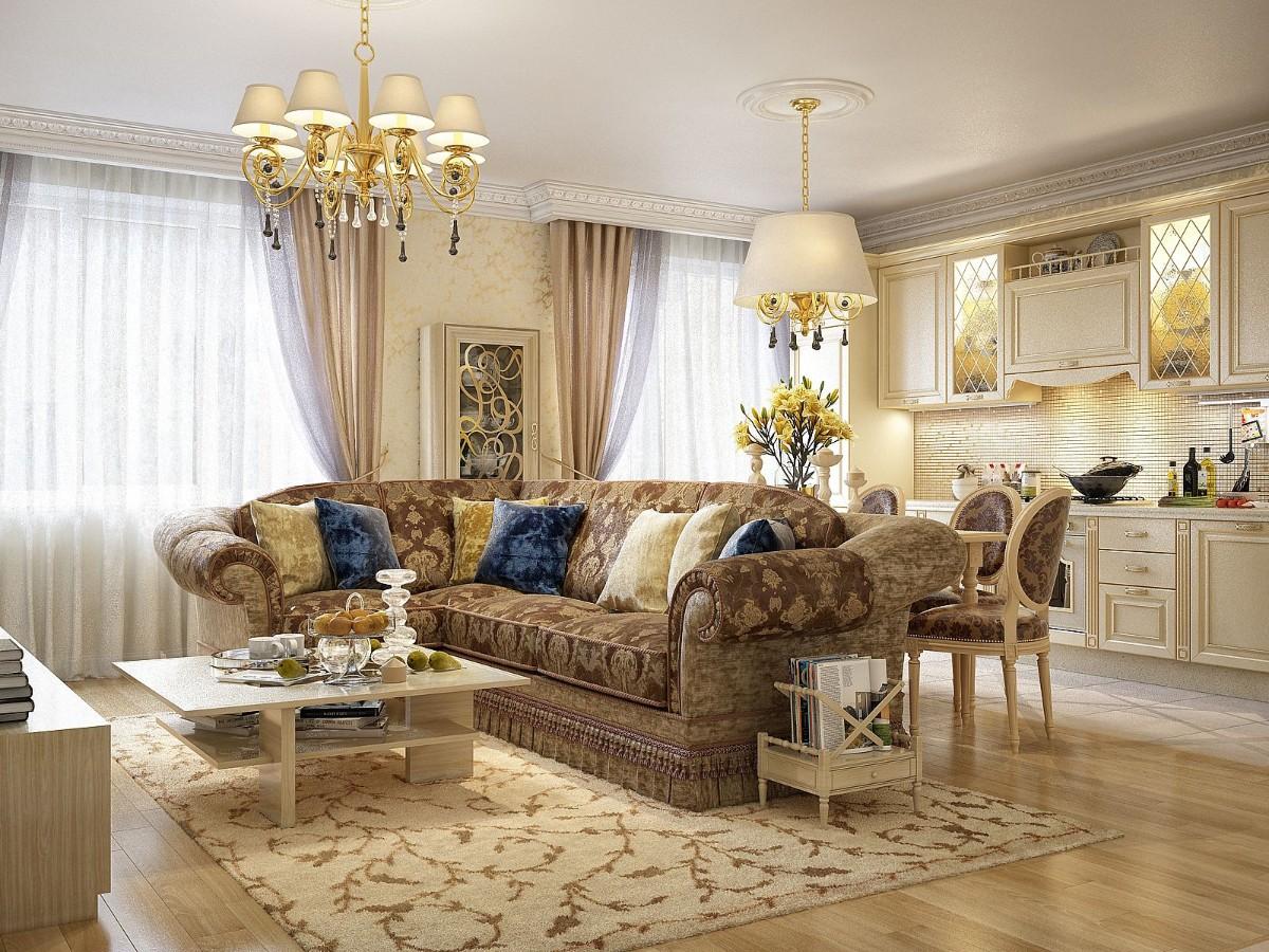элегантная кухня гостиная в классическом стиле