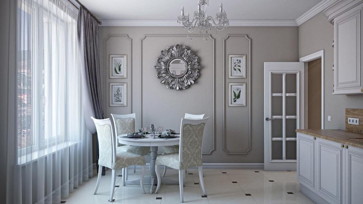 элегантная серая кухня в классическом стиле