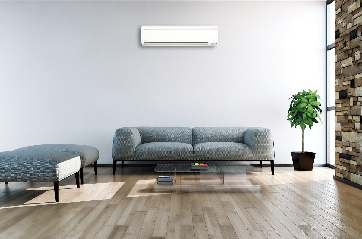 какой выбрать кондиционер в квартиру серо-голубая стена в интерьере