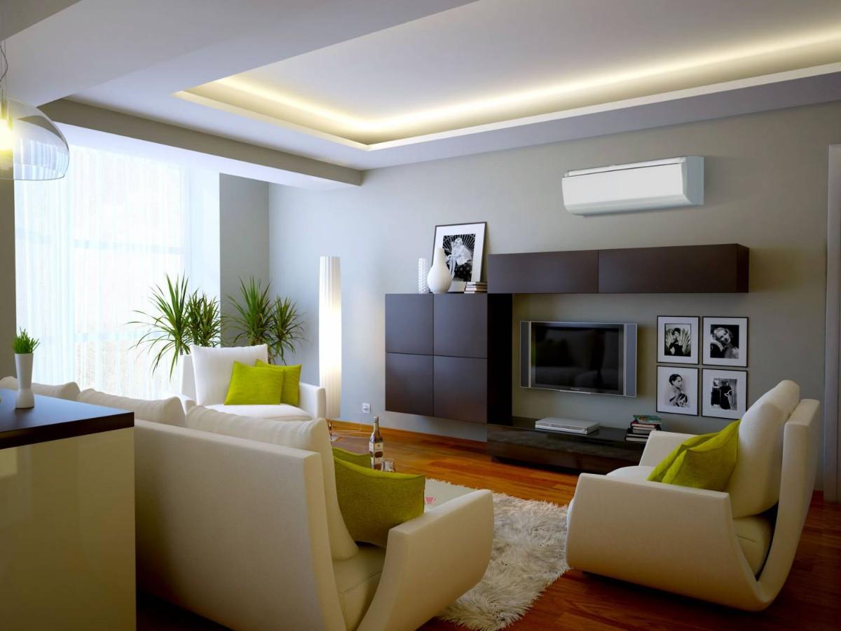 какой выбрать кондиционер в современную гостиную в квартире с разноуровневневым потолком