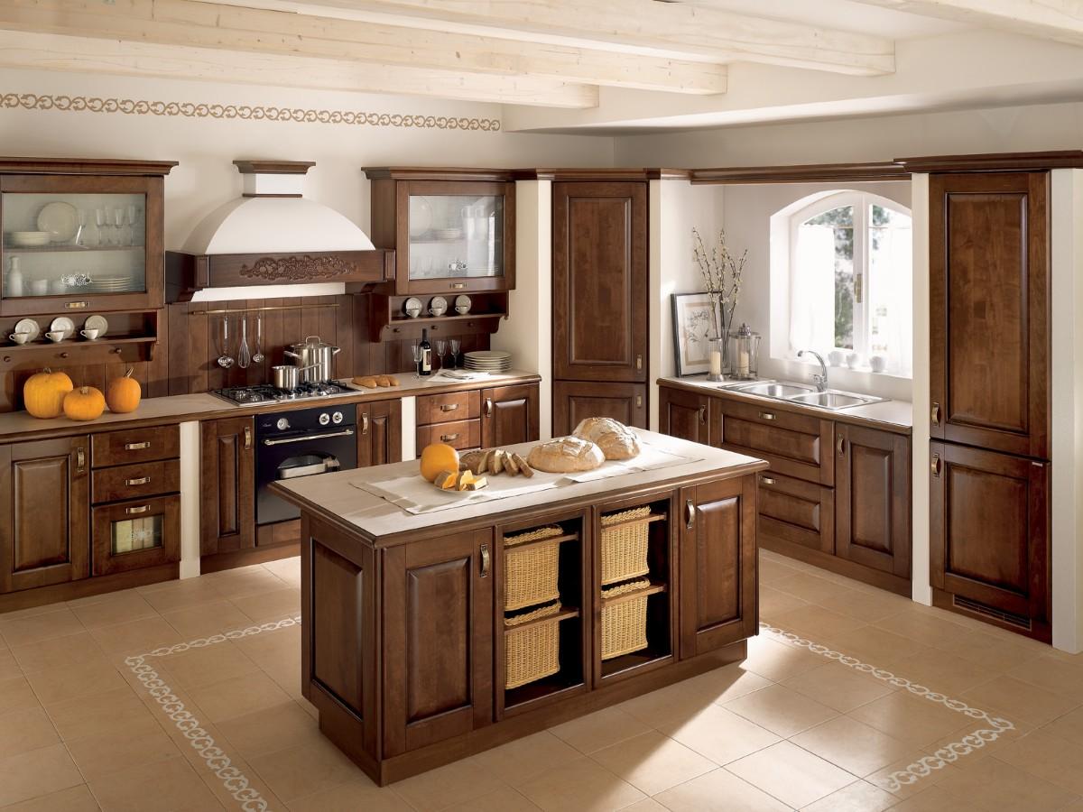 коричневая кухня с островом в классическом стиле