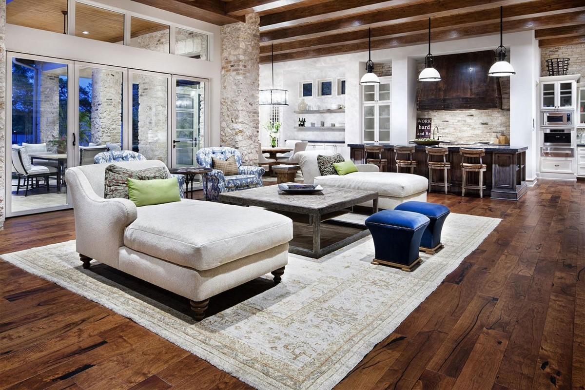 коричневый дизайн кухни гостиной в большом частном доме