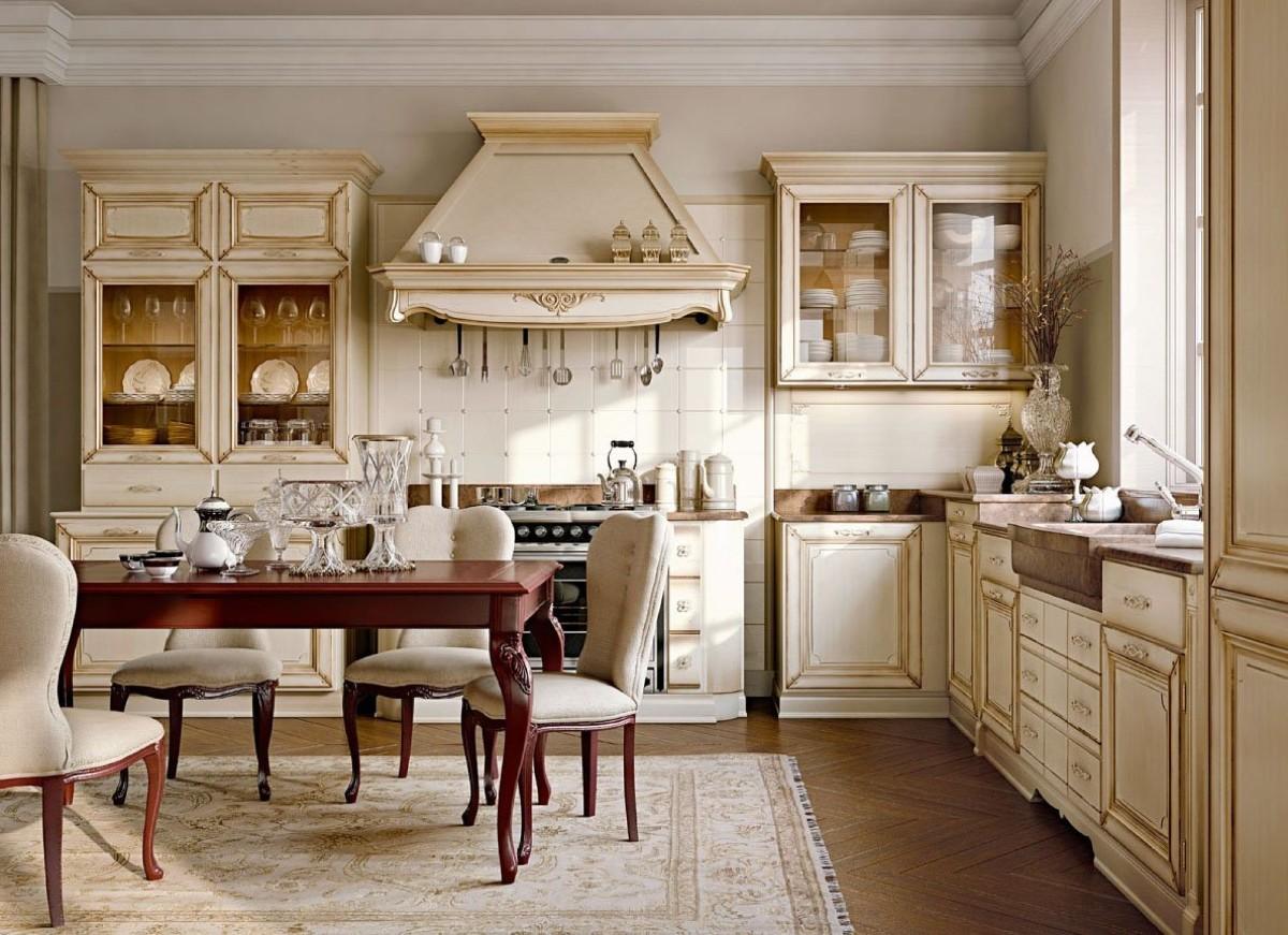 кремовая кухня с позолотой дизайн в классическом стиле