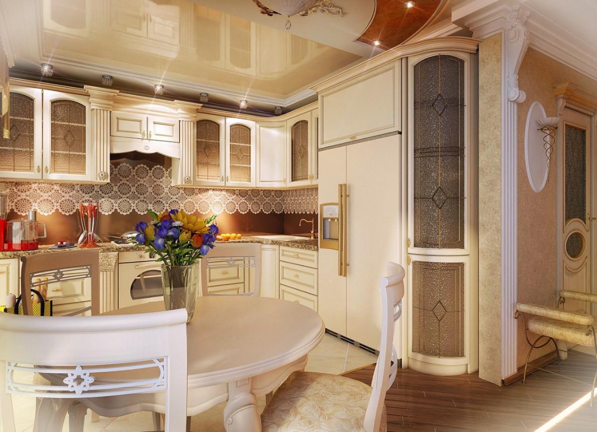 кремовая угловая кухня в классическом стиле