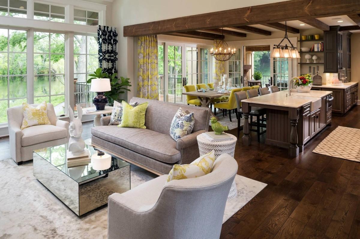 кухня гостиная столовая дизайн в классическом стиле
