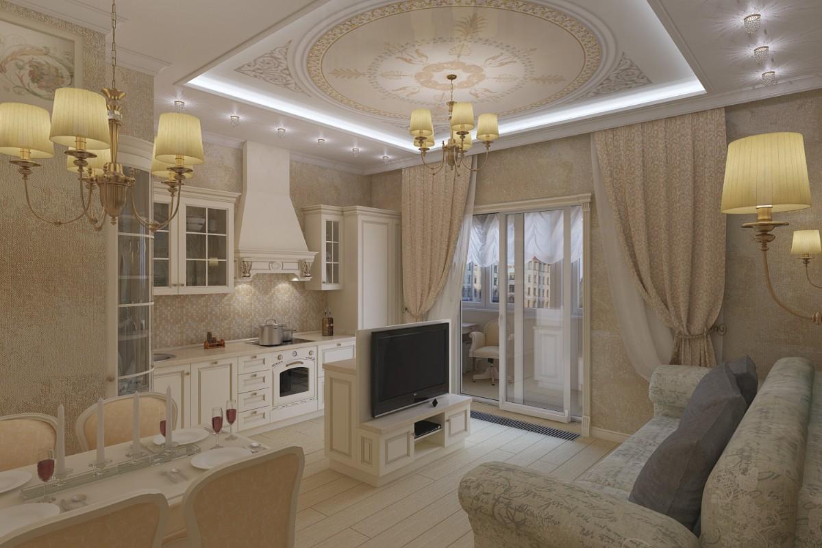 кухня гостиная столовая в классическом стиле интерьер в квартире