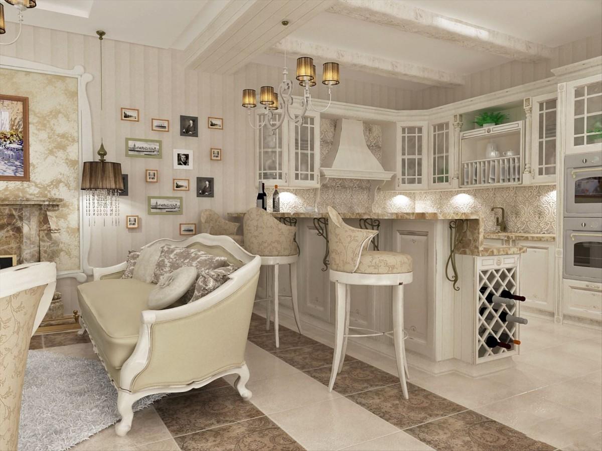 дизайн кухни гостиной в частном доме прованс