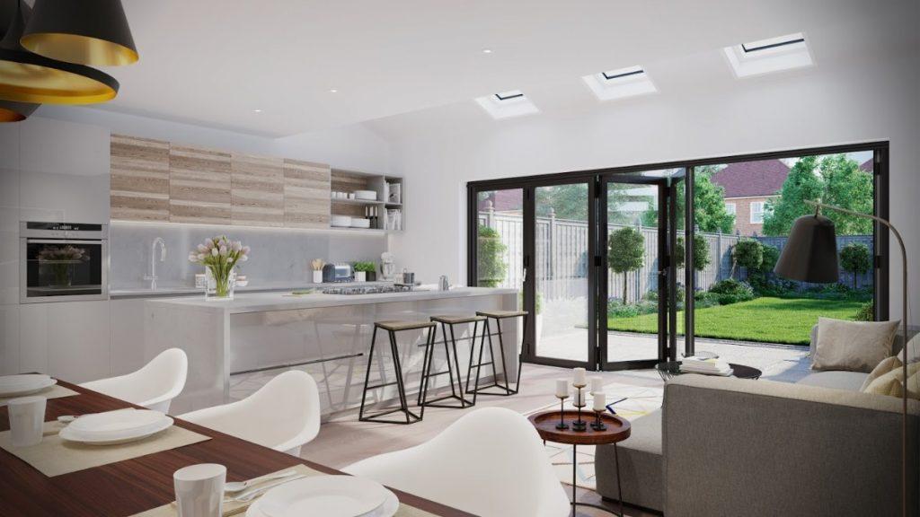 кухня гостиная в частном доме с панорамными окнами