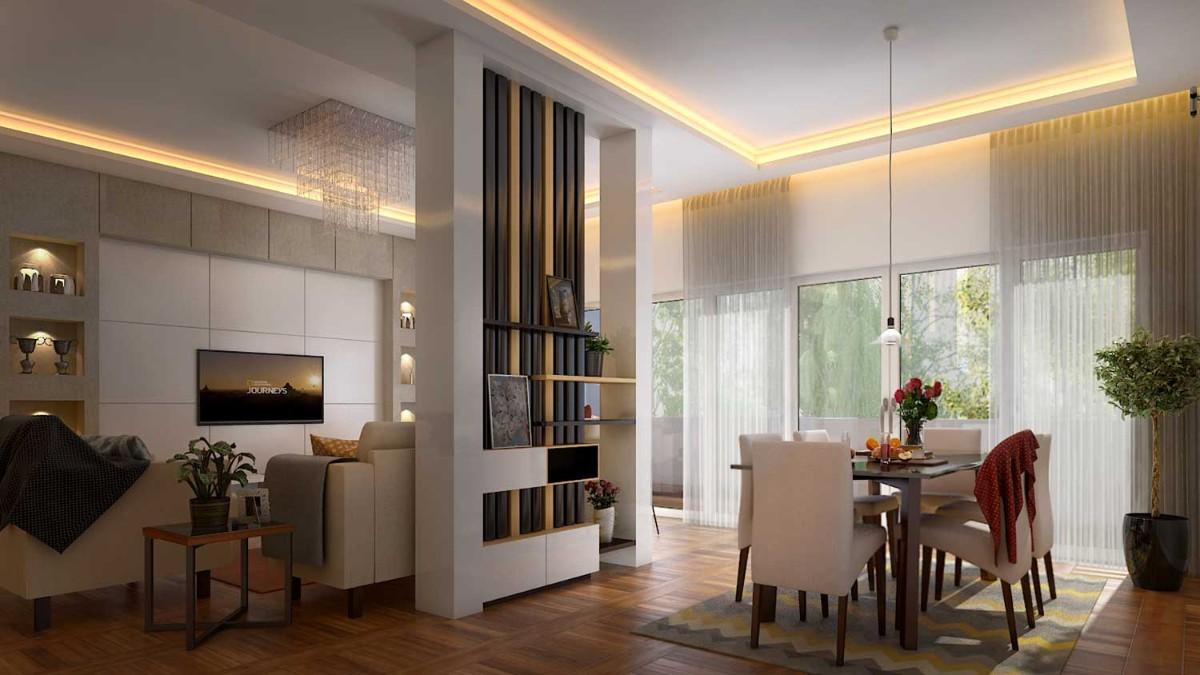 кухня гостиная в частном доме с перегородкой