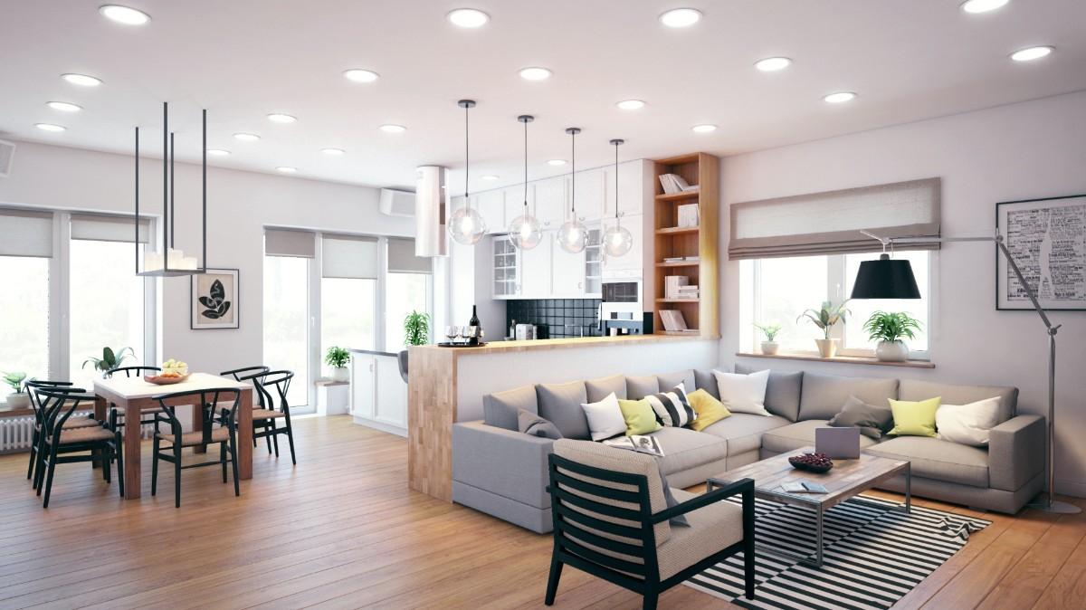 кухня гостиная в частном доме светлый интерьер