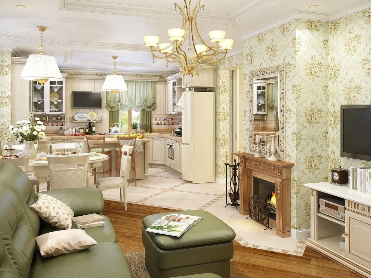 кухня гостиная в классическом стиле дизайн освещение