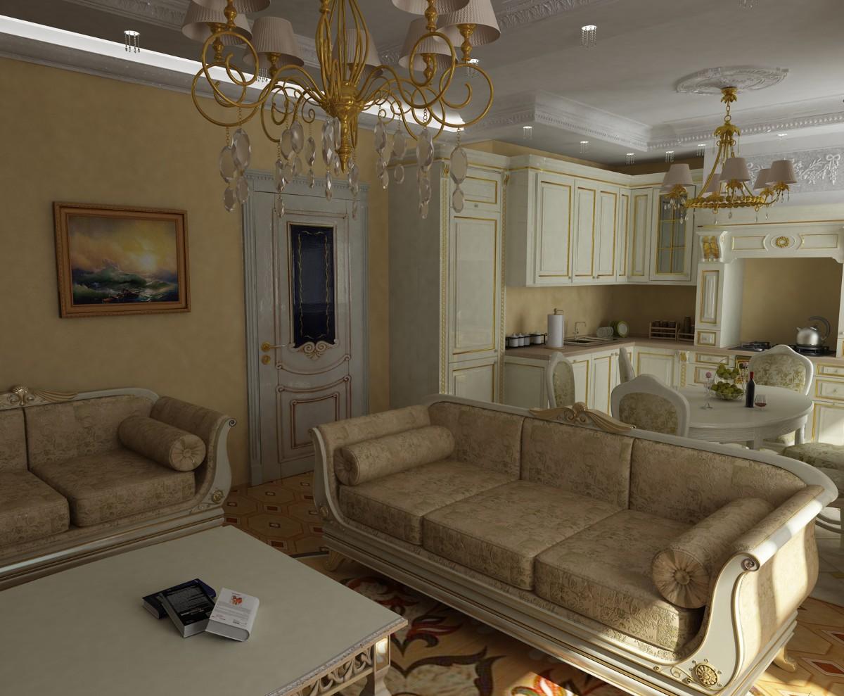 кухня гостиная в классическом стиле интерьер в персиковых тонах