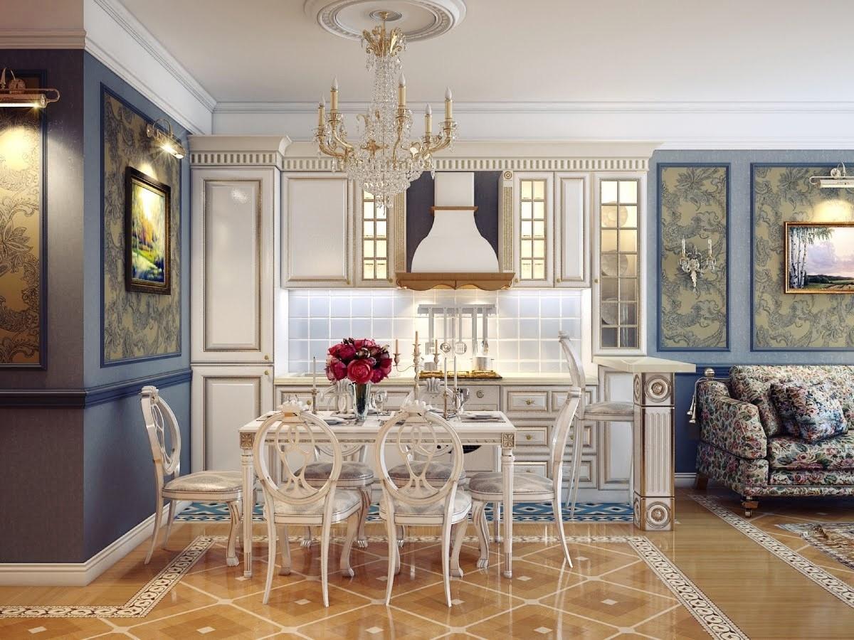 кухня гостиная в классическом стиле керамическая плитка на полу