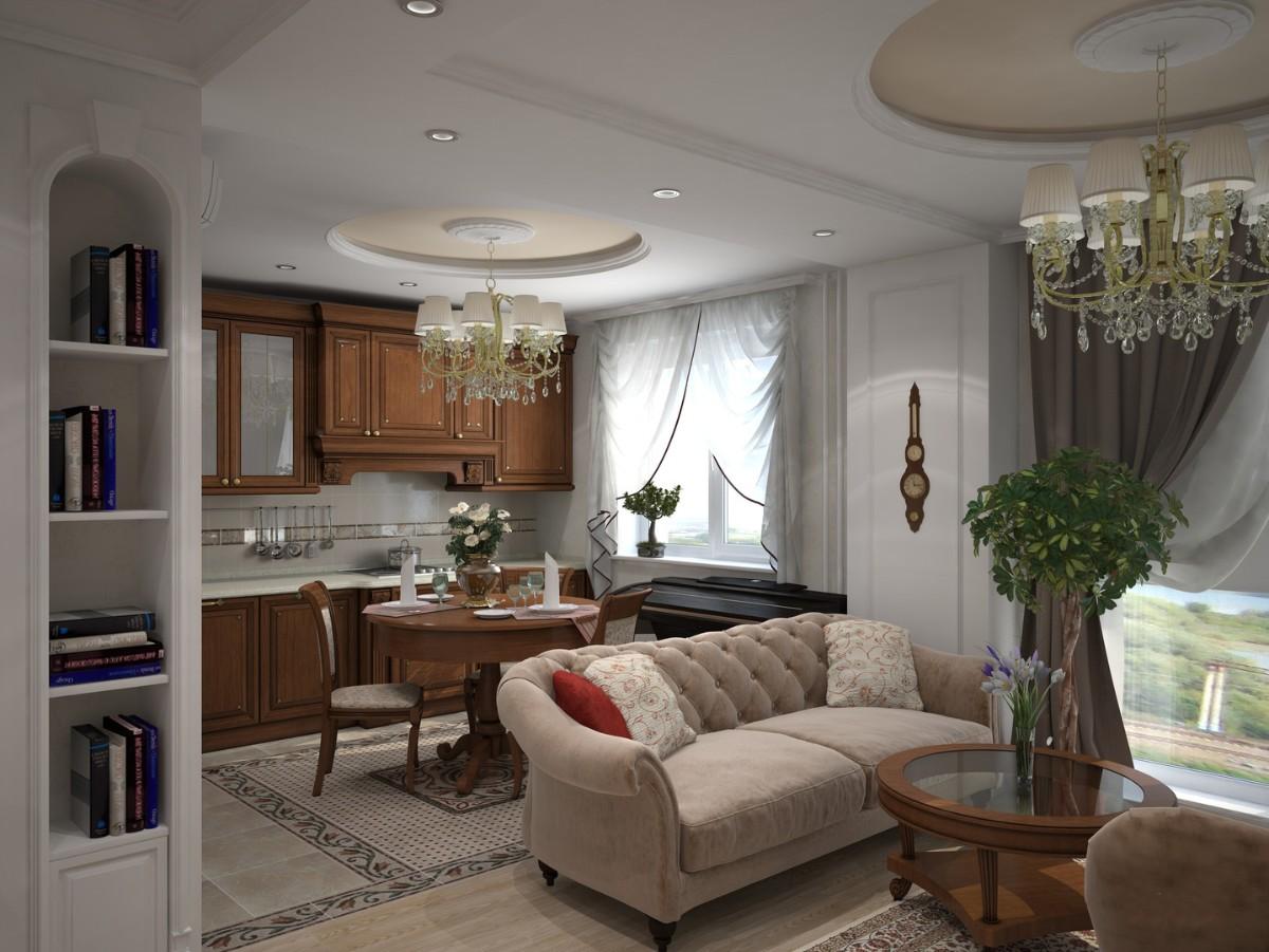 кухня гостиная в классическом стиле обеденное пространство
