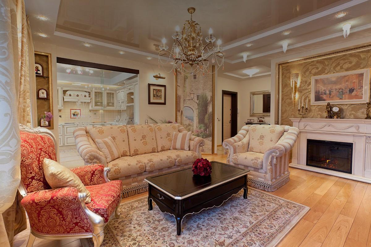 кухня гостиная в классическом стиле персиковый интерьер