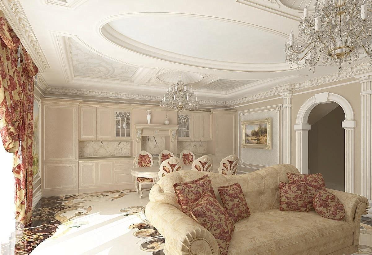 кухня гостиная в классическом стиле роскошный потолок