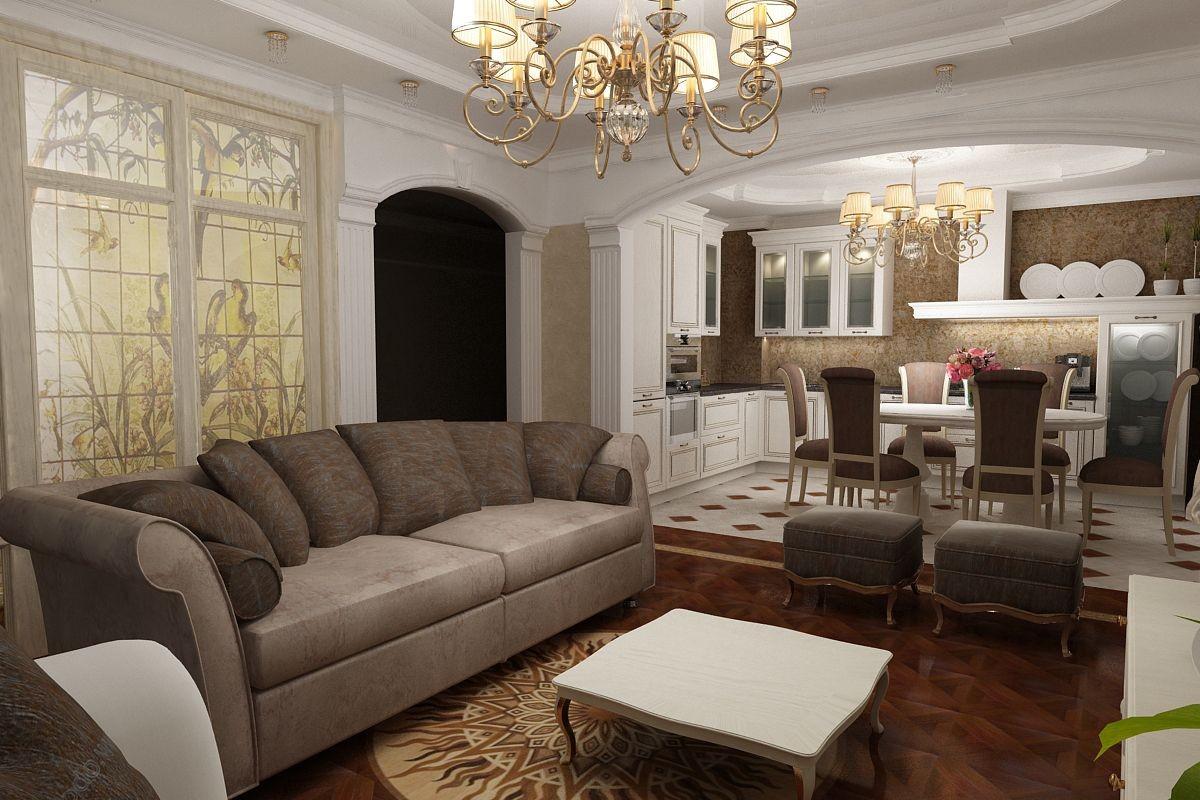 кухня гостиная в квартире дизайн в классическом стиле