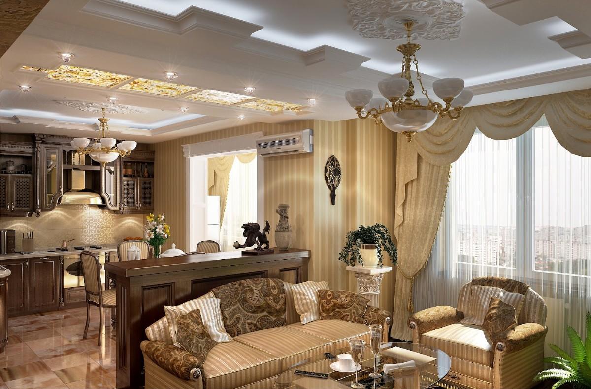 кухня совмещённая с гостиной в квартире в классическом стиле