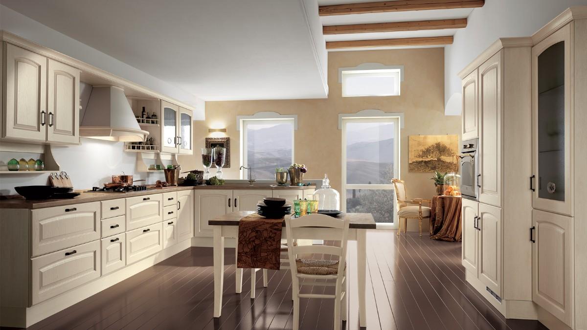кухня в классическом стиле двухуровневый потолок