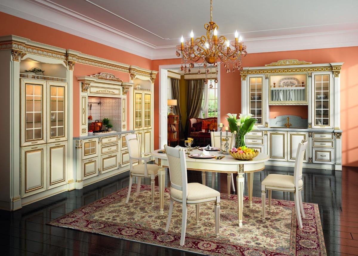 кухня в классическом стиле интерьер с чёрным напольным покрытием