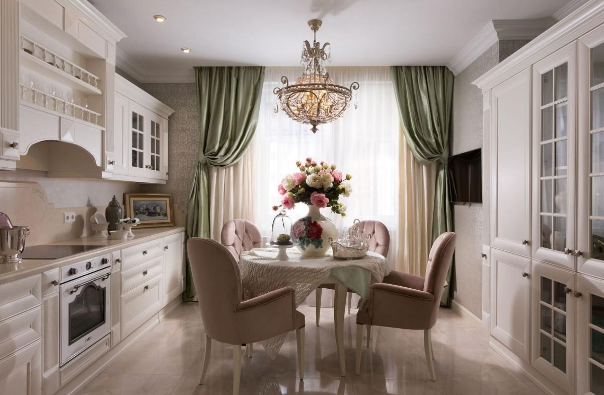 кухня в классическом стиле портьеры