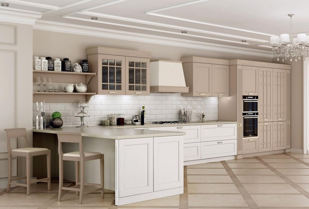 кухня в классическом стиле потолок с лепниной