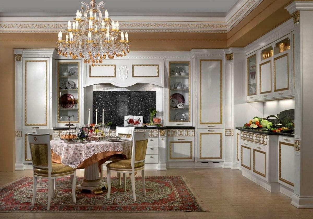кухня в классическом стиле позолота на гарнитуре
