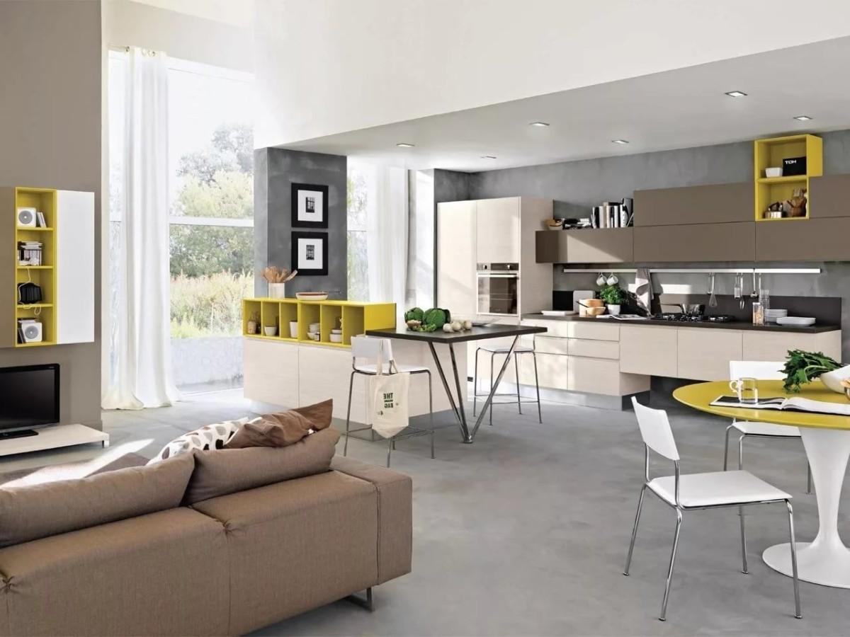 лаконичный дизайн кухни гостиной в частном доме