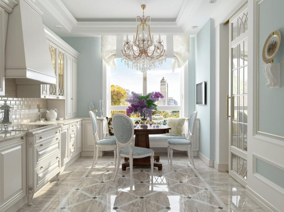 небольшая кухня гостиная в классическом стиле