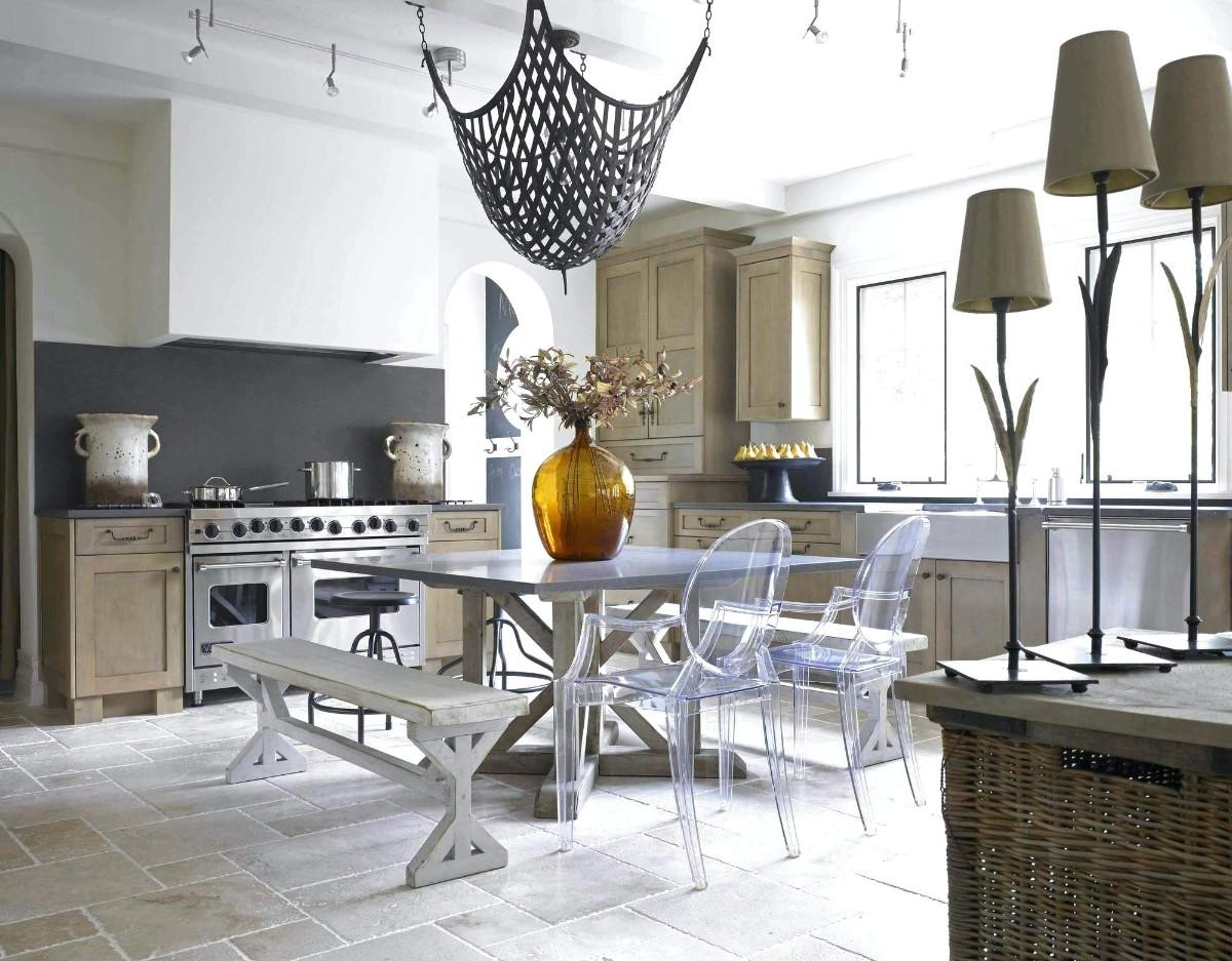 необычный дизайн кухни гостиной в частном доме