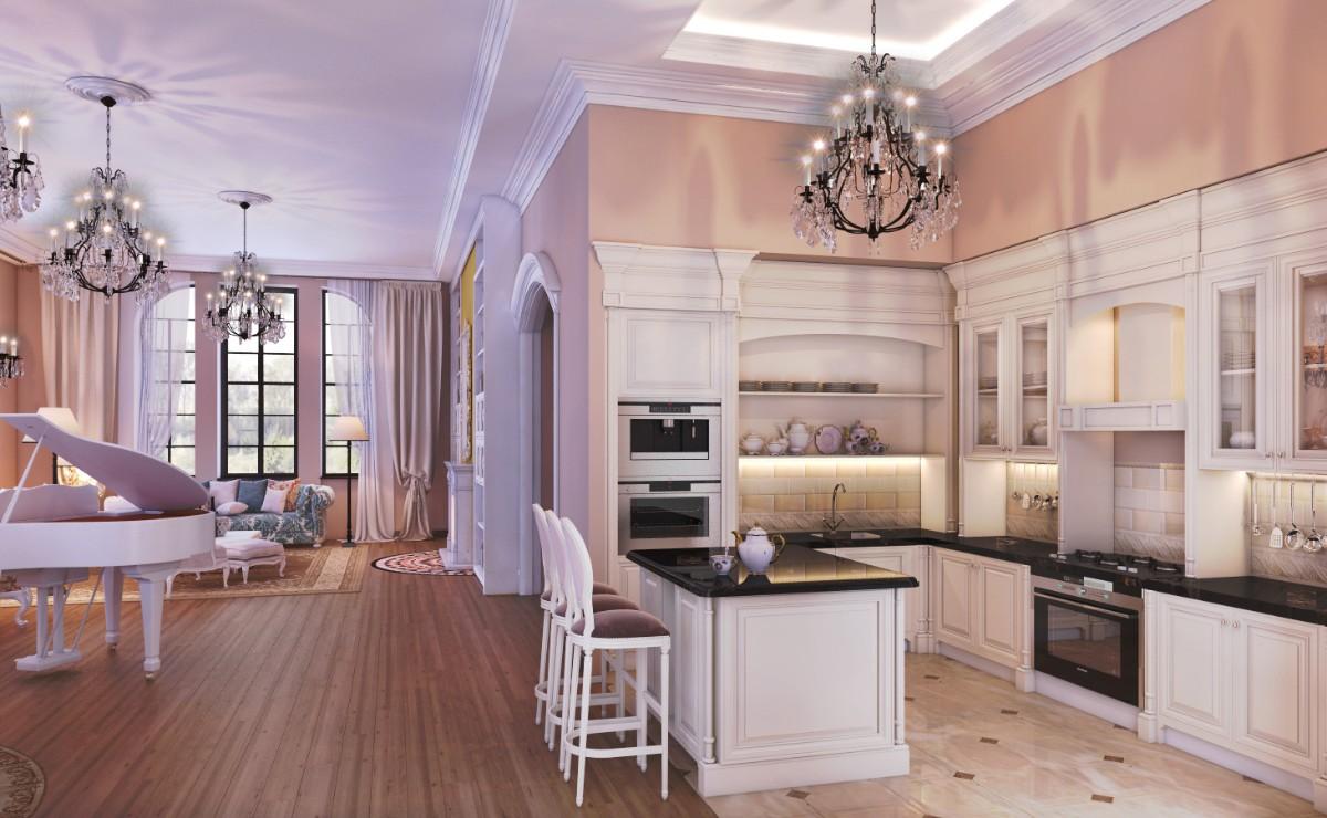 просторная кухня гостиная в классическом стиле с персиковыми стенами