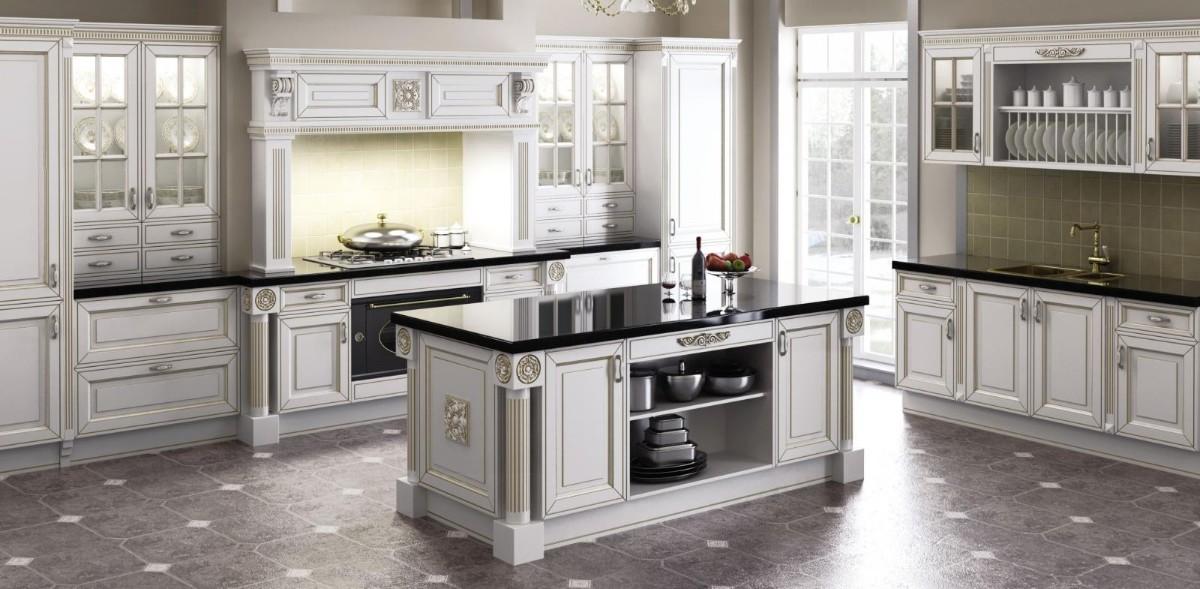 роскошная светлая кухня в классическом стиле