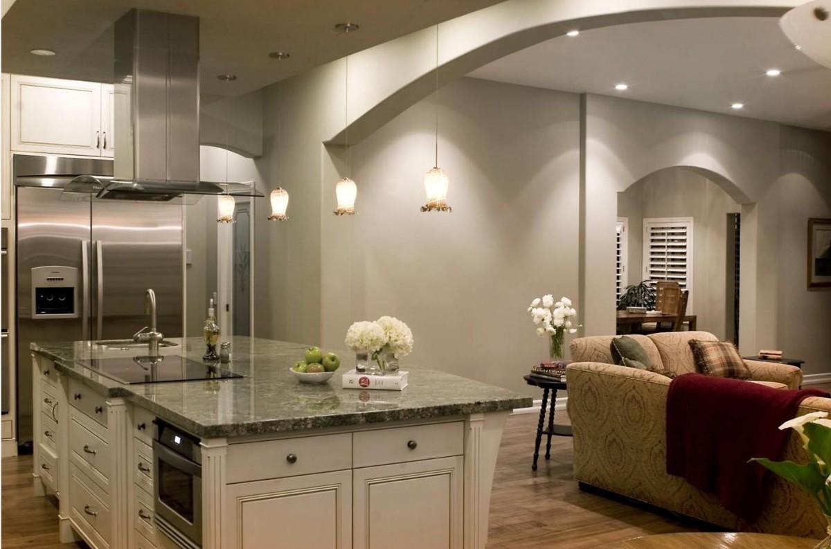 сдержанный дизайн кухни гостиной в частном доме