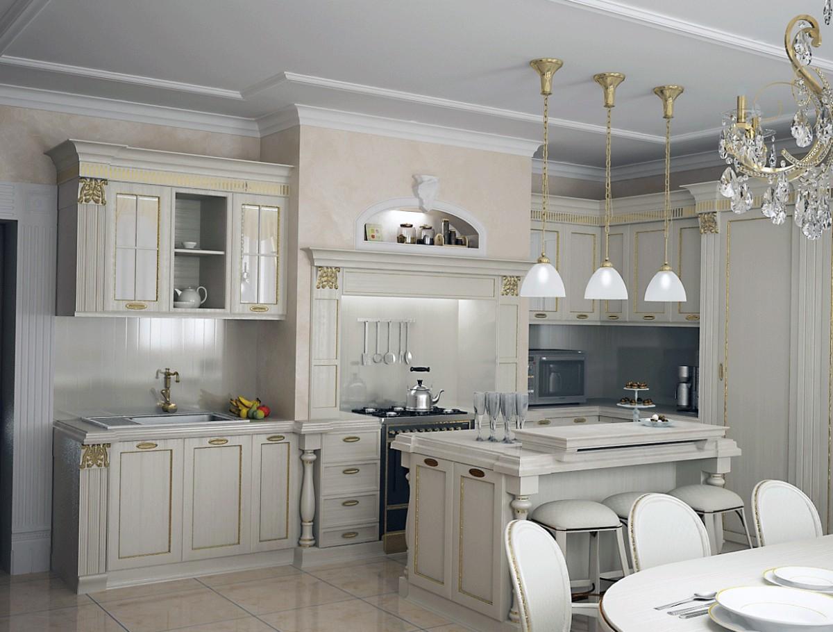 серая кухня гостиная в классическом стиле
