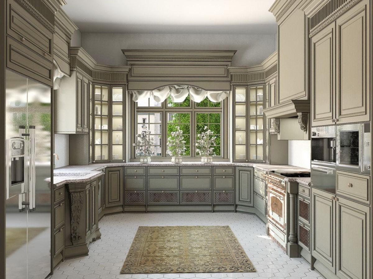 серая кухня с эркером в классическом стиле