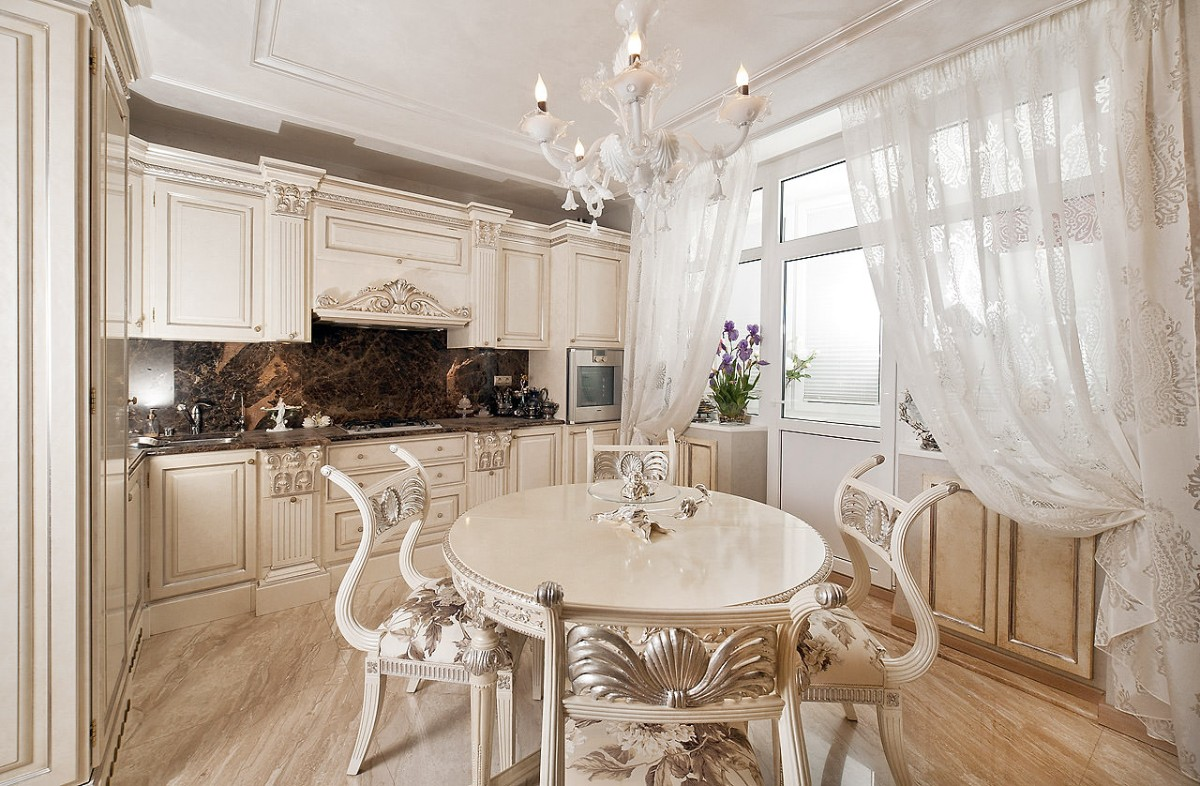 шторы кухня в классическом стиле