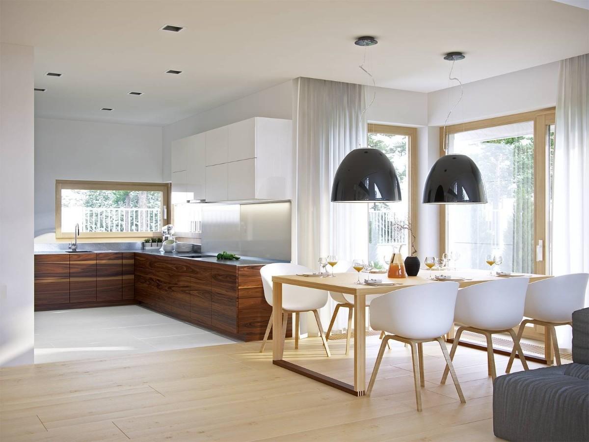 современный дизайн кухни гостиной в частном доме