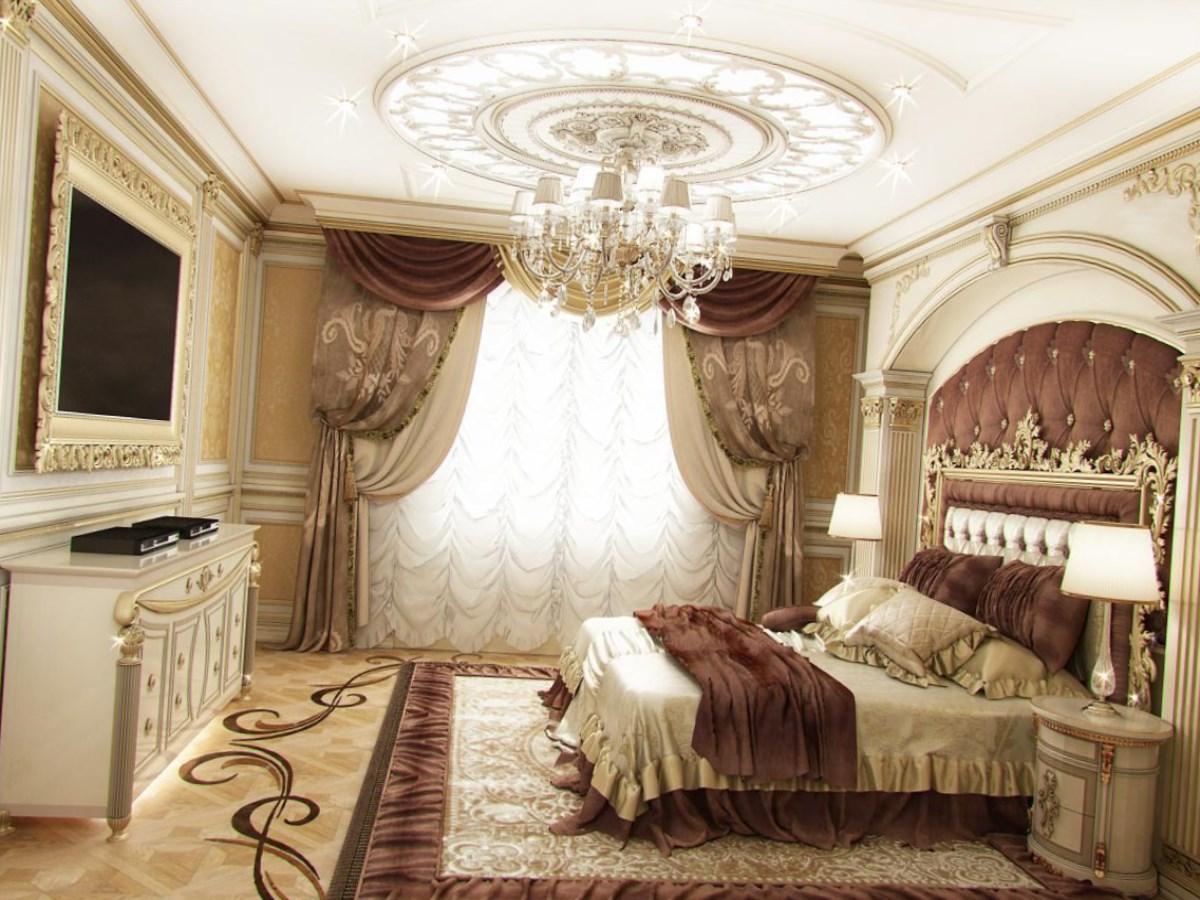 спальня в классическом стиле в светлых тонах