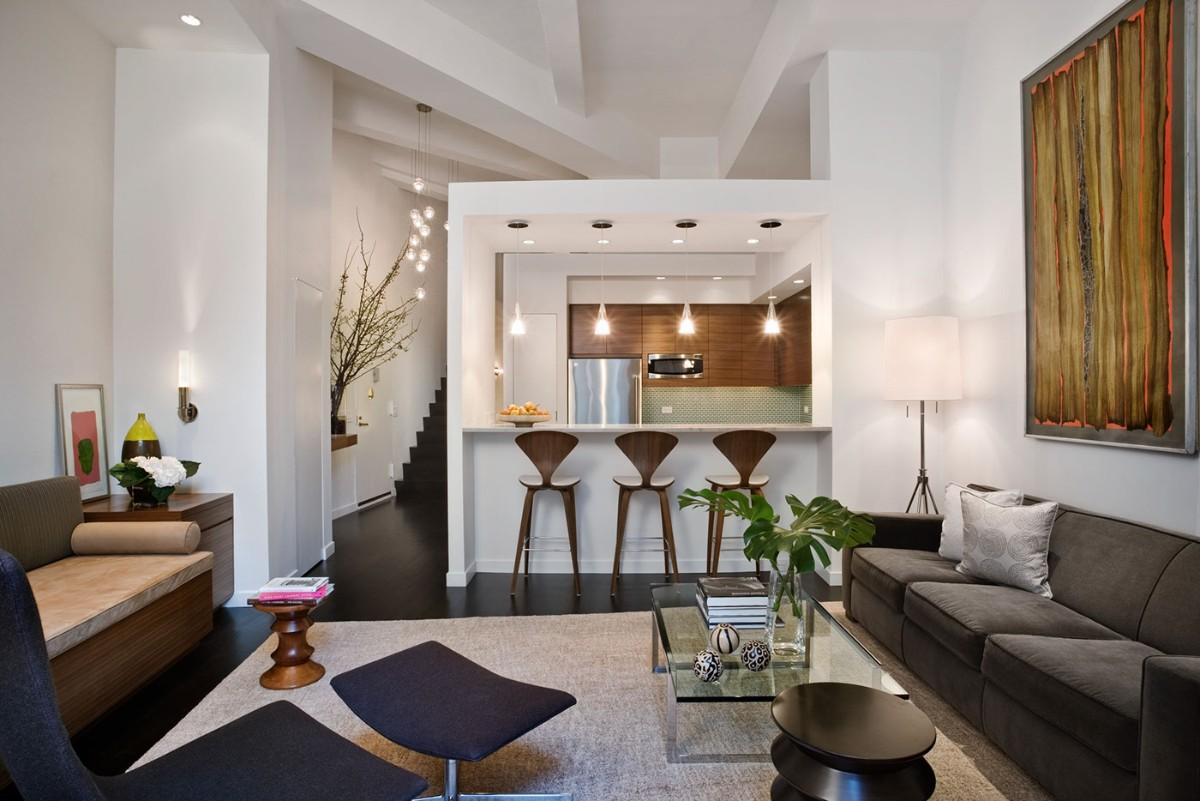 стильный дизайн кухни гостиной в частном доме