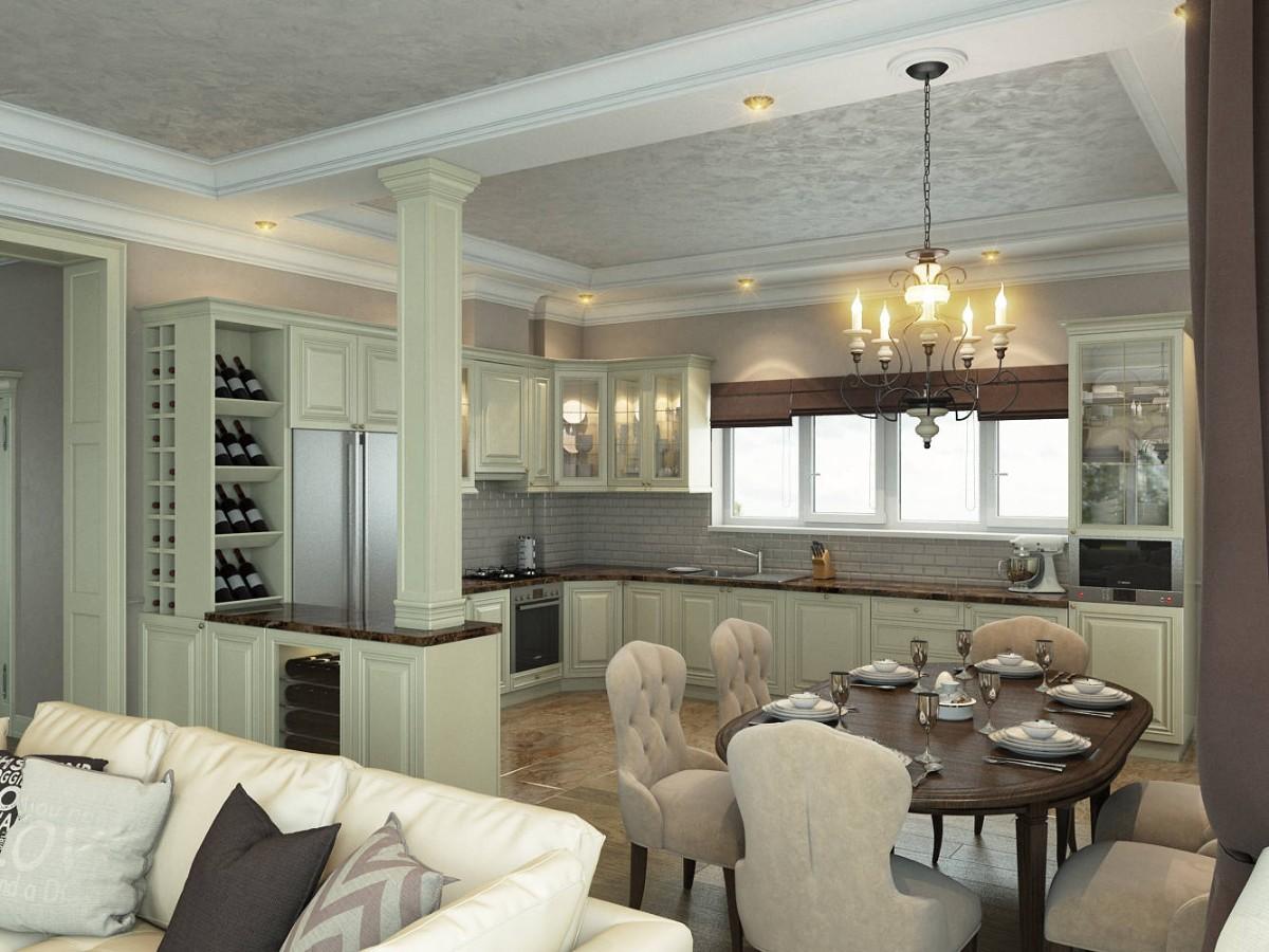 светлая кухня гостиная в классическом стиле