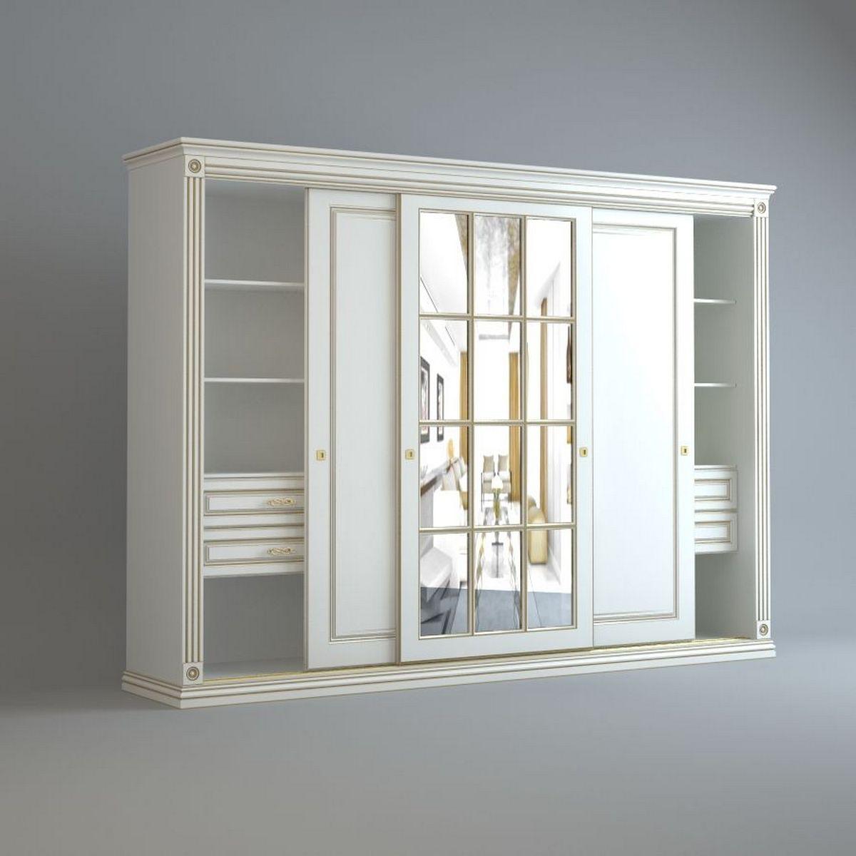 светлые шкафы для спальни в классическом стиле